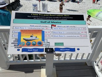 Scan fob on this kiosk/will tell you exactly where to find your reserved chairs!