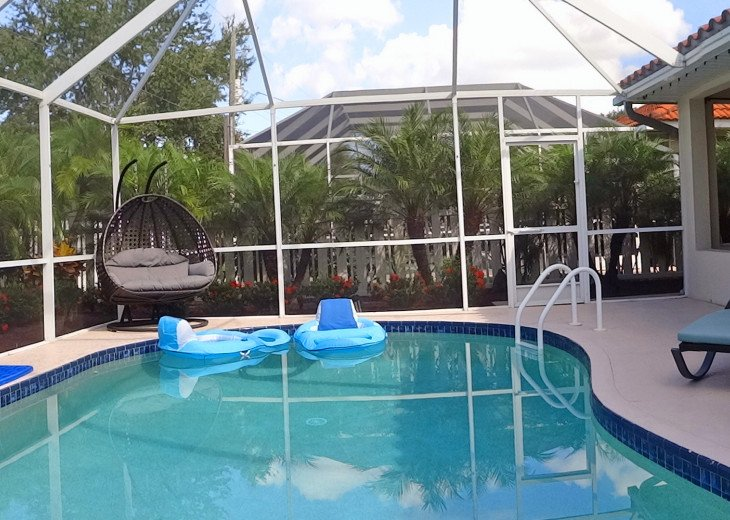 Screened, heated pool