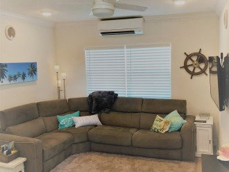 Wrap around couch has queen sleeper sofa!