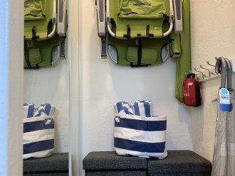 Beach towels, beach chairs, umbrella, & more