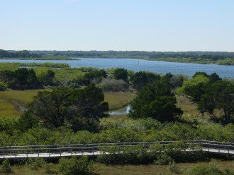 View from the balcony overlooking the conservation area, lighthouse , and river