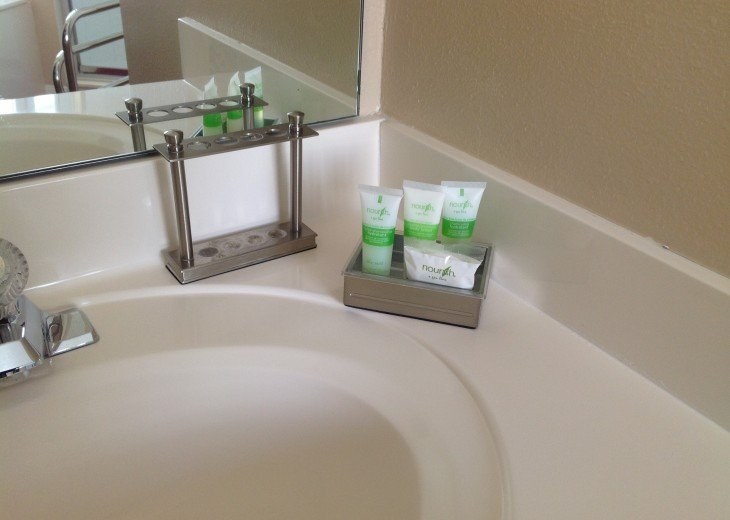 Supplies on each individual sink, shower and garden tub.