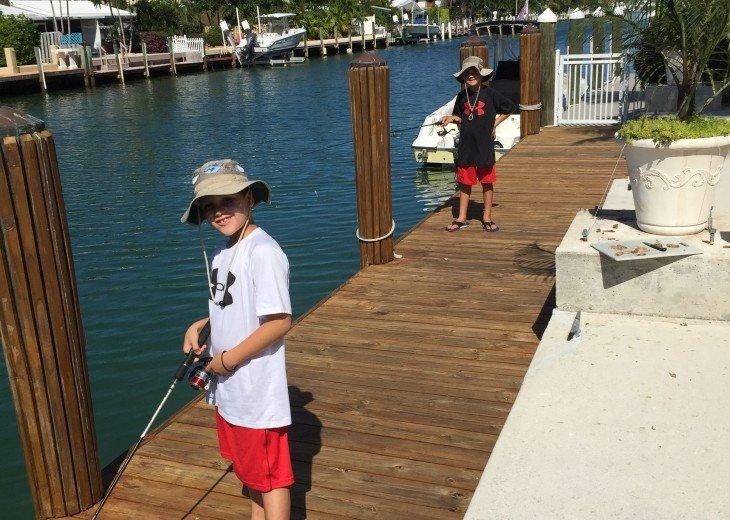 Favorite pastime- fishing off dock!