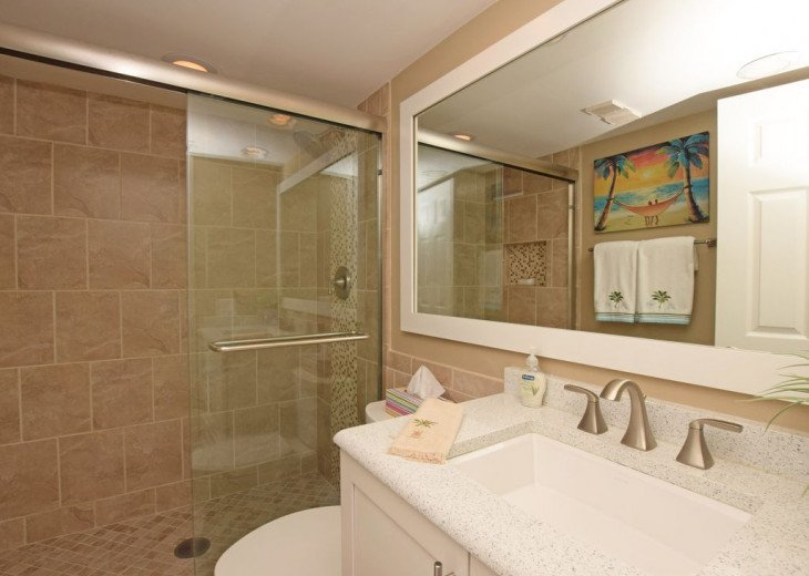 The upscale guest bathroom w/porcelain tile and a beautiful new walk-in shower