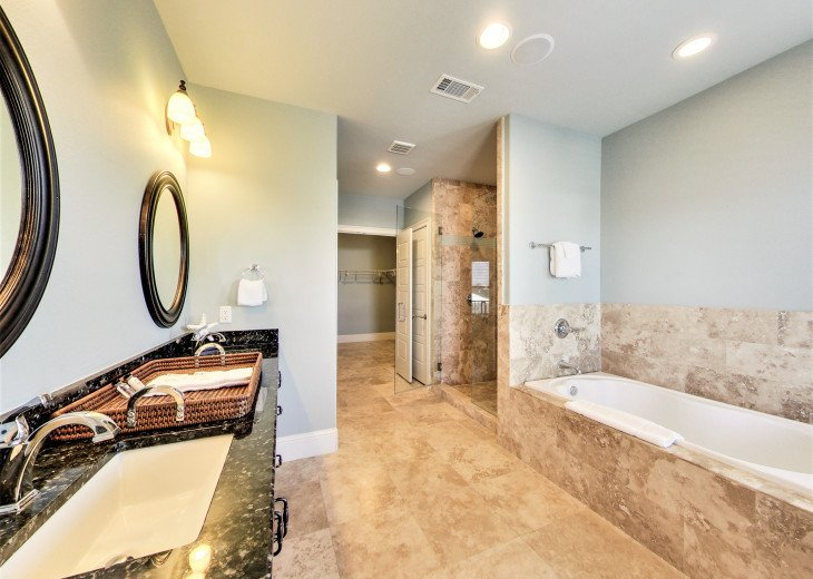 Master Suite double vanity, walk-in closet, garden tub and stand up shower