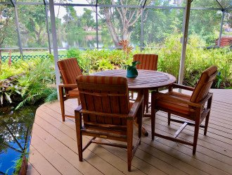 Teak table and chairs for beautiful outdoor dining