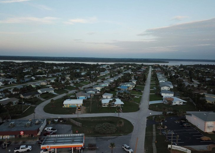 Aerial view from beach (Shore Drive) to river (John Anderson Drive)