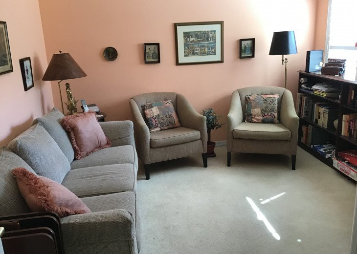 Den with large screen HDTV & pull-out couch