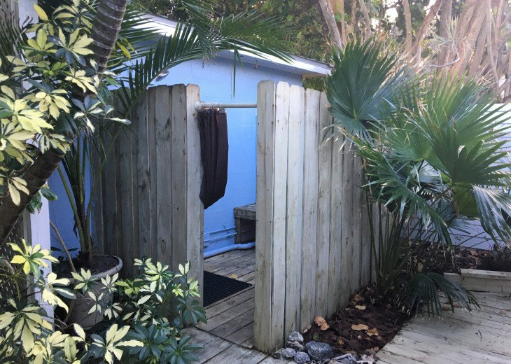 Outdoor shower is convenient when returning from the beach