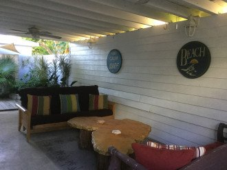 Outside covered patio with ceiling fans
