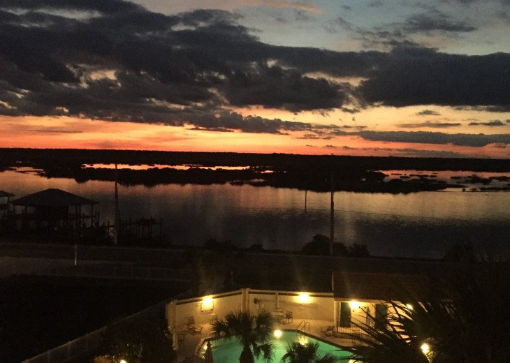 View of Pool with Sunset on Intracoastal Waterway
