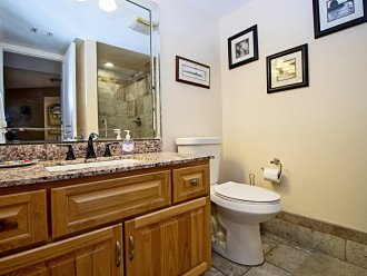Guest Bathroom with Hickory Cabinets, Granite Counters Comfort Height Toilet