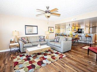 Queen sleeper sofa and loveseat luxury plank flooring