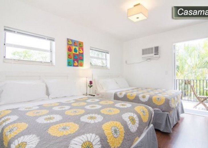 Master Bedroom with 2 Queen beds/ sleeps 4. Apt now Offers Central AC (not wall)