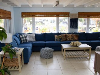 Living area opens to back yard; pull out couch
