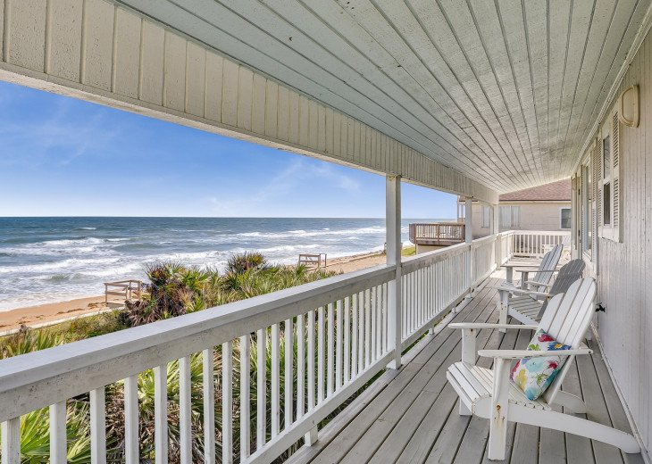Covered balcony facing the ocean