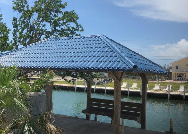 Tiki hut with fish station