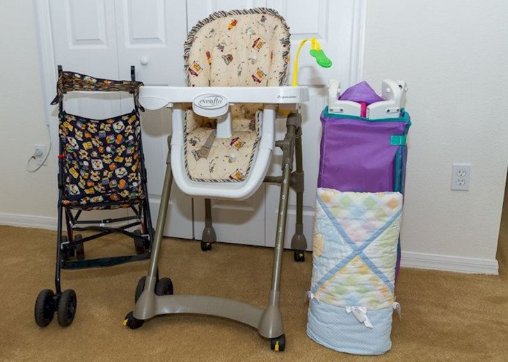 Stroller, high chair and travel cot
