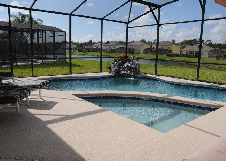 screened pool, overlooking the lake