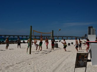Beach vollyball a few short steps from the (2) pools!