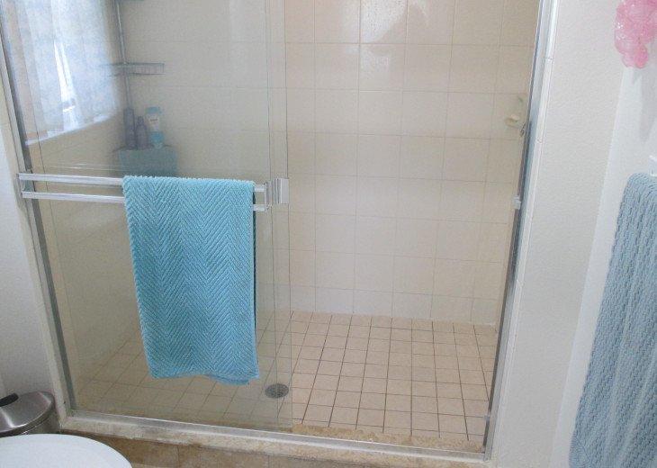 master walk-in shower (toilet in bottom left)