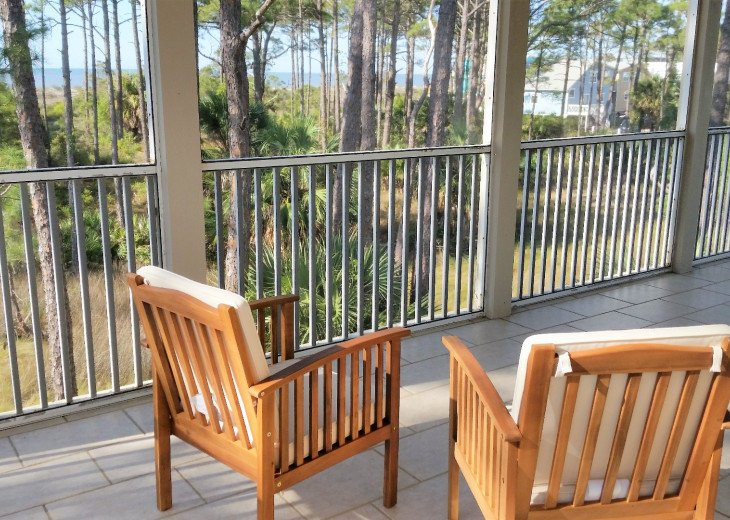 View from master suite's private screened porch.