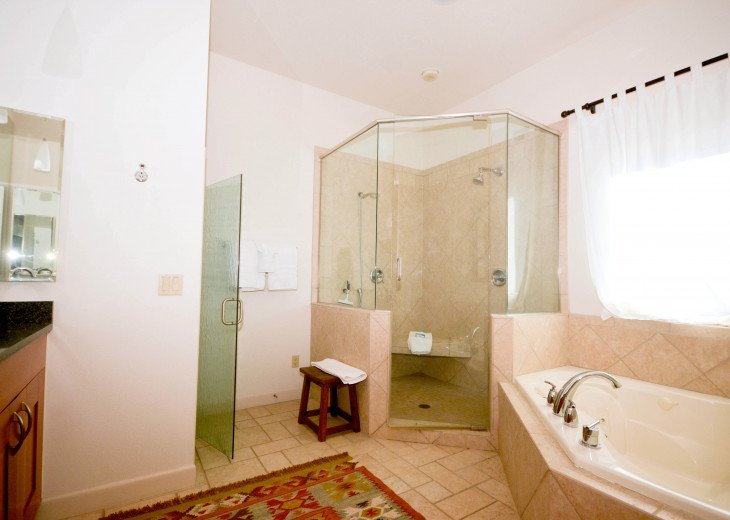 Large master bath and features double vanity, two-person shower & jacuzzi tub.