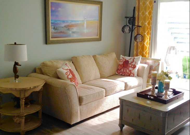 Evening Sun Glow in Living Room with pullout Queen Bed with No middle bar