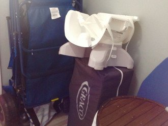 Beach Chairs, Pack-n- Play, Child's Booster Seat, Laundry Hamper in Closet