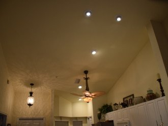 Vaulted ceiling and flood lights...