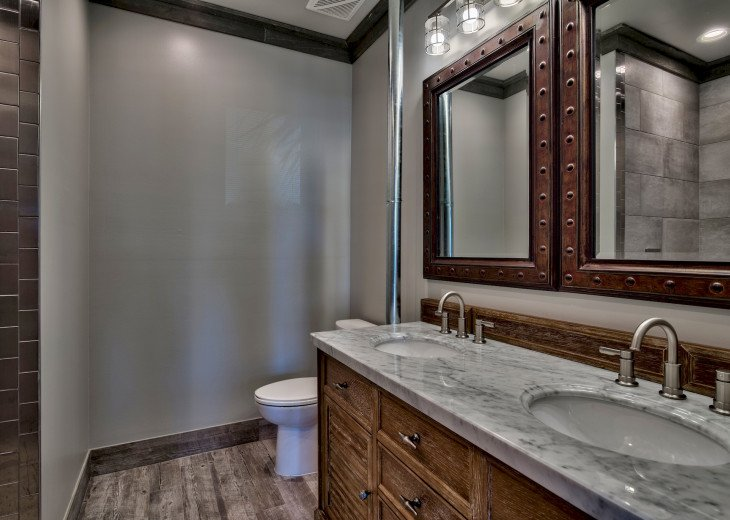 Master bath with twin vanity sinks