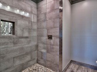 European walk-in shower with rain head