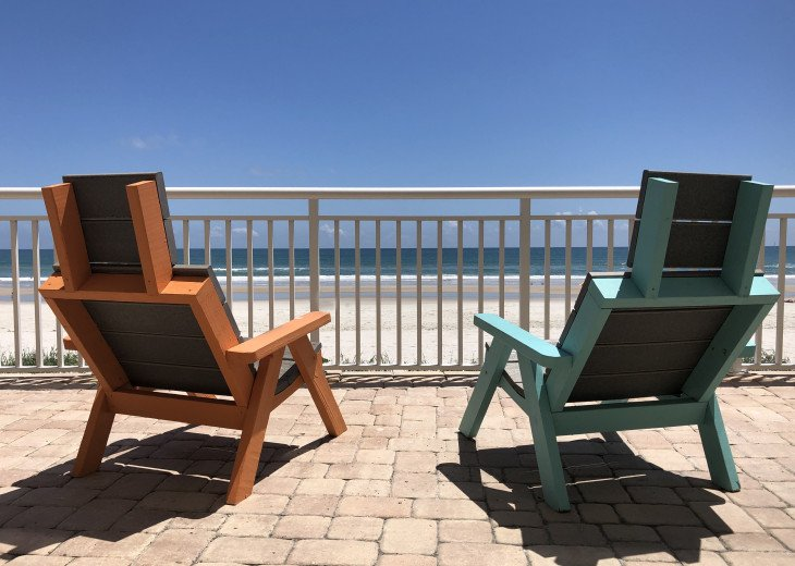 Seating in front of condo