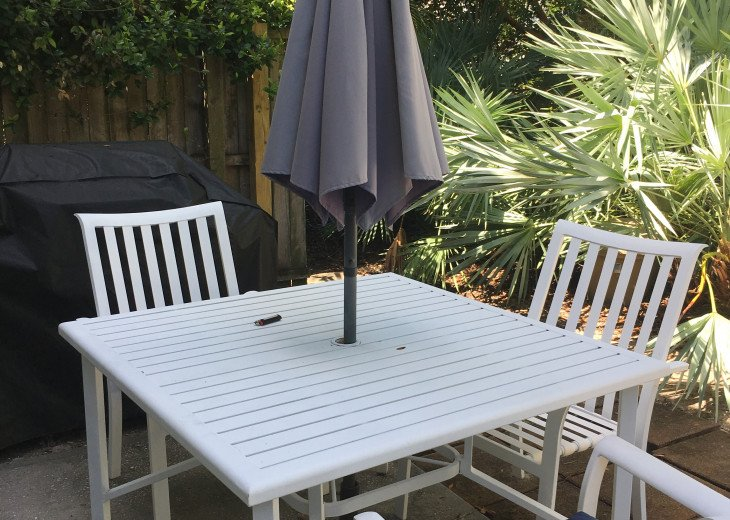BACK YARD WITH TABLE/UMBRELLA AND GAS BBQ