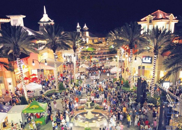 The Destin Commons is a popular shopping destination. Walk or drive the golf car