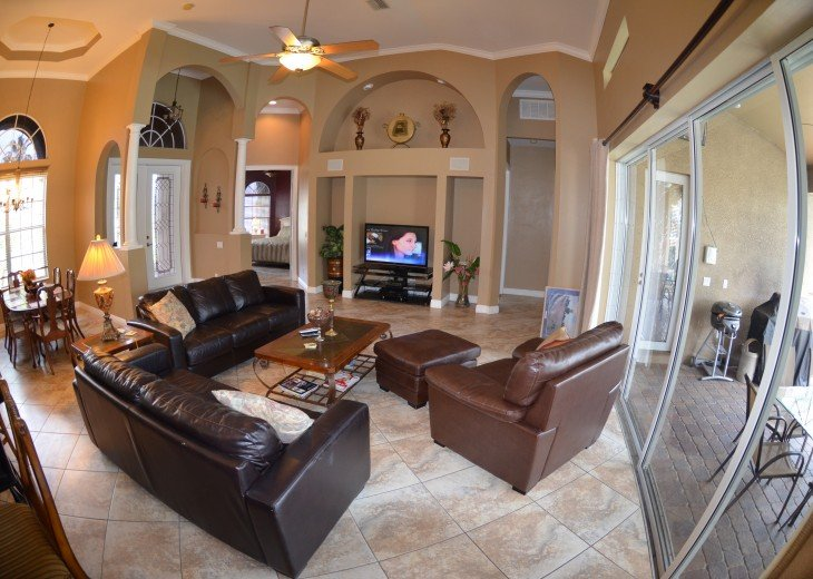 LARGE LIVING ROOM, ENTERTAINMENT center,LCD-TV, 2 sofa Beds.