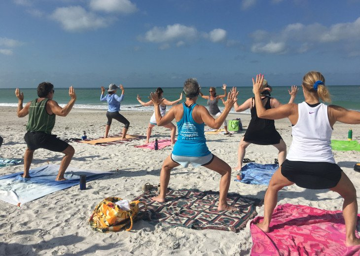 Beach yoga a bike ride away!