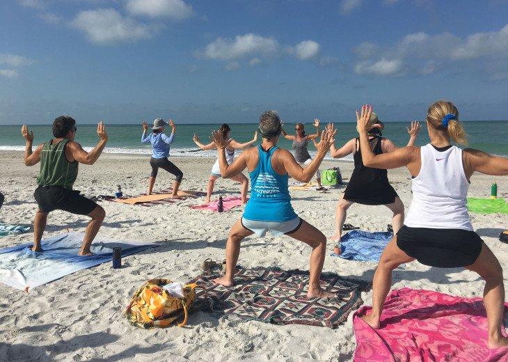 Beach yoga a bike ride away!