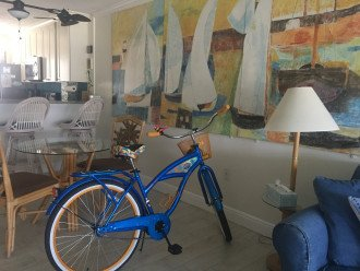 A parrot head Paradise with Margaritaville bike, a gift from Jimmy himself!