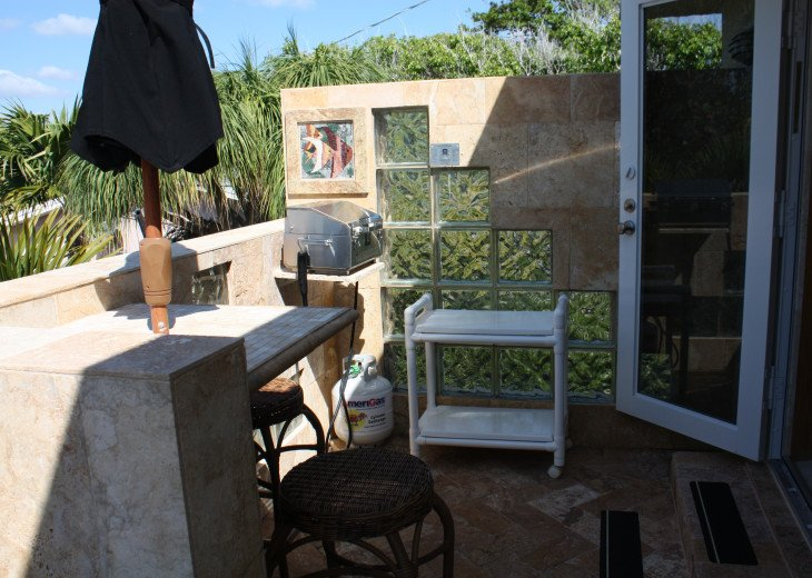 Terrace off of kitchen with BBQ