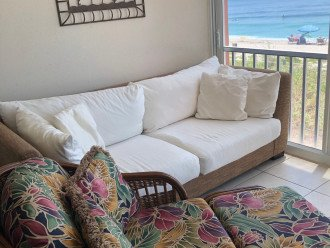 Comfy Chaise and Couch on Lanai for lounging