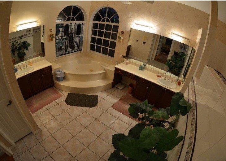 MASTER BATHROOM JETTED SPA walk in SHOWER, His & Her vanities.