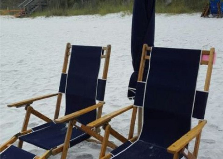 Two Beach Chairs and Umbrella Set up daily waiting for you!