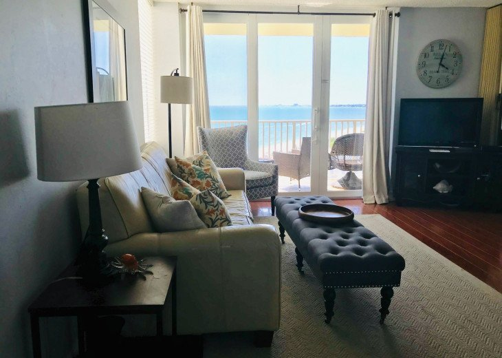 Living room with a view of the Gulf