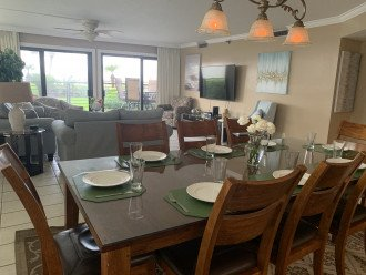 Great views from the living room, dining room and kitchen