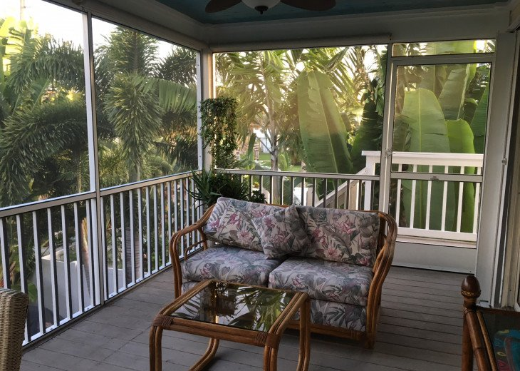 Screen porch sitting area