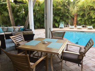 Poolside dining area