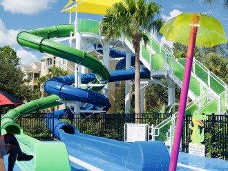 Dulling waterslides and kids splash pad area
