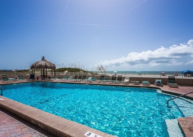 Oceanfront Heated Pool with Lounge Chairs