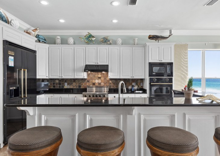 Gourmet kitchen on second level with views of Gulf of Mexico. Viking appliances!